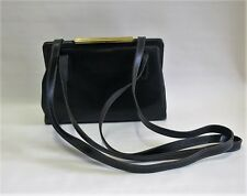 Vintage Goldpfeil Black Leather Shoulder Gold Clasp Bag Hand Made In Germany