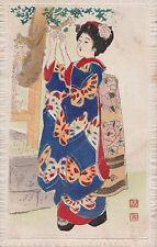 K 482 - Kiautschou aufwendige Textil - AK, Geisha echt gelaufen 1914