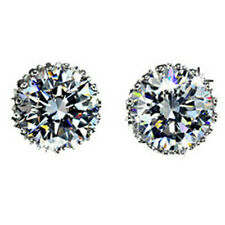 18K White Gold Austrian Swarovski Crystal Diamond Zircon Earrings Ear Stud FM-A