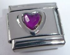 PURPLE HEART GEM Italian Charm - February Birthstone Love fits Classic Bracelets