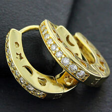 FS652 GENUINE REAL 18CT YELLOW G/F GOLD DIAMOND SIMULATED HUGGIE HOOP EARRING