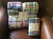 POTTERY BARN KIDS Madras Plaid Twin Quilt & Standard Sham Set NEW