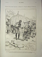 1900 VICTORIAN BOER WAR PRINT ~ SOLDIERS GETTING A DRINK AT A NATIVE KRAAL NATAL