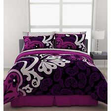 Girls Bedding Comforter Set Reversible Queen Size Duvet Sheets Purple Bed In Bag