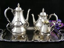 Webster Wilcox American Rose Silver Plated Coffee/Tea Service Set Oneida Tray