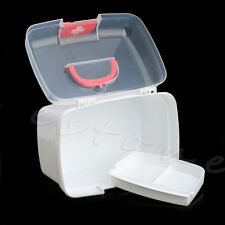 Clear 2 Layers Health Pill Medicine Chest First Aid Kit Case Storage Box Plastic