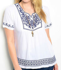 Size XL SHIRT TOP Womens Plus WHITE BLUE Short Sleeve EMBROIDERED DESIGN 1XL New