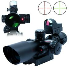 2.5-10X40 Tactical Sight Rifle Scope w/Red Laser&Mini Reflex 3 MOA Red Dot Sight