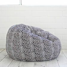 Large Snow Leopard Print FUR BEANBAG Cloud Chair Soft Animal Safari Bean Bag NEW