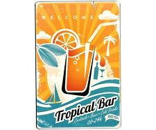 Plaque Publicitaire Vintage Métal Tropical Bar Cocktails  Atmosphera 30 x 20 cm