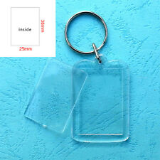 30x Transparent Blank Insert Photo Picture Frame Keyrings Split Ring Keychains