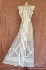 Antique Edwardian Embroidered Net Lace Wedding Gown Stars & Hearts Peach Silk