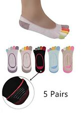 5 Pairs Cotton Women Girls Five Fingers Separate Toe Socks Mixed Colors