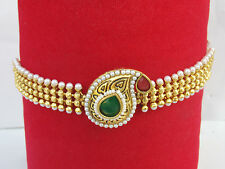 South Indian Ruby Armlet Chain Bracelet Emerald Pearl Armband Gp Bridal Jewelry
