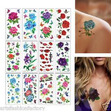 6 Sheets Temporary Tattoos Flower Halloween Fake Tattoos Sticker Body Art Tattoo