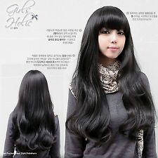 Japanese Style Fashion women Wig Fluffy Long Straight Black NEW