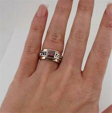 Hadar Designers 9k Yellow Gold Sterling Silver Garnet Filigree Ring any size (S
