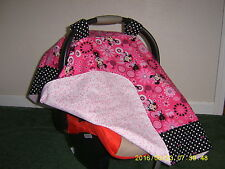 MINNIE MOUSE w/polka dots & bows Handmade Baby Car Seat Canopy-Cover