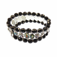 Religious images Jesus medals black faceted glass good quality icon bracelet