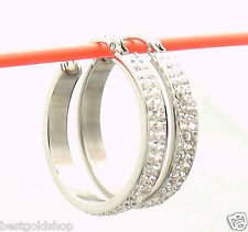 "1"" Pave Set Double Row Crystal Hoop Earrings Stainless Steel by Design QVC"