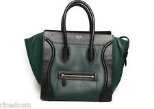 ❗️ Authentic Celine Mini Luggage Tricolor Forest Green/Black/Anthracite leather