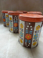 Set Of Six Genuine Original Retro Vintage 1960s/70s Kitchen Tins Canisters
