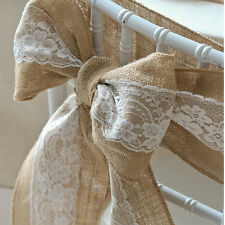Rustic Vintage Wedding Chair Cover Sashes Jute Burlap Lace Party Banquet Decor