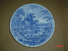H M Sutherland RURAL SCENES Blue And White Side Plate