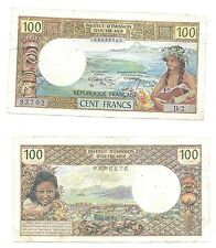 Tahiti 100 Francs 1969 Papeete P-23 in (VG-F) Condition Banknote