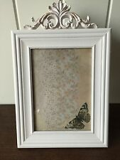 LARGE ANTIQUE PHOTO FRAME CREAM WOOD CHIC SHABBY STYLE FIT PHOTO 5 X 7""