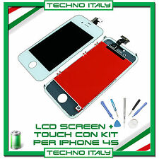 TOUCH SCREEN + LCD RETINA +FRAME +KIT PER IPHONE 4S BIANCO VETRO DISPLAY SCHERMO