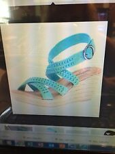 NEW Minnetonka Designer Wedge Open Toe Sandal Aqua Turquoise Suede HALEY Size 7