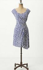 Anthropologie Dress 4 Small Leifnotes White Gulls Leifsdottir Bird Print Blue