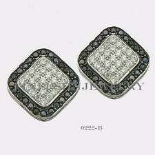 Sterling Silver 925 Squircle Stud Screwback Earrings with B&W CZ (9mm) #0222B
