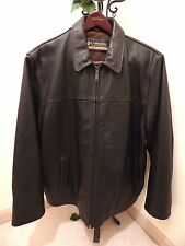 COLUMBIA LEATHER FLIGHT BOMBER DARK BROWN INSULATED JACKET MEN'S 2XL / XXL / 2TG
