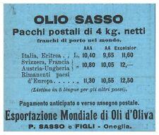 OLIO D'OLIVA SASSO PACCHI POSTALI ESPORTAZIONE MONDIALE DI OLI D'OLIVA 1905