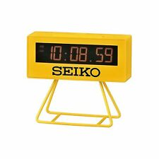 """Seiko QHL062Y Yellow """"Countdown"""" Style Digital Timing Snooze Alarm Clock + Stand"""