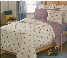 NEW TRANSIT 7 PC FULL BED SHEET SET SHAM 2 VALANCES CARS TRAINS BOATS AIRPLANES