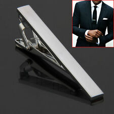 Men Metal Silver Tone Simple Necktie Tie Bar Clasp Clip Clamp Pin GU
