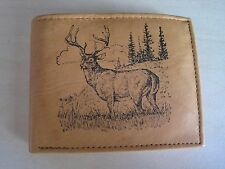 "Mankind Wallets-Men's Tan Leather Billfold with FREE ""Buck/ Deer Hunting"" Image"