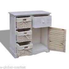 WHITE Cabinet Bathroom Wooden Storage Unit Cupboard Baskets Floor Drawer Kitchen