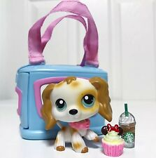 Littlest Pet Shop Lot Dog LPS Cream & Tan Cocker Spaniel #344 & Accessories