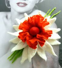 STUNNING felted woman ART  brooch-POPPY  -7