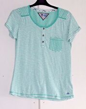 Size UK 10 EURO 38 MANTARAY Green and White Striped Top Fine Embroidery (35)