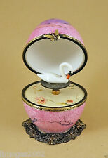 PLAYS MUSIC BOX NEW FRENCH LIMOGES BOX PORCELAIN EGG W/ BALLERINA & SWAN KEY