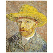 Van Gogh, Self Portrait w/ Straw Hat Deco FRIDGE MAGNET, 1888 Fine Art Repro