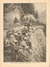 German Infantry Soldiers Assault A Position, Riflemen Vintage 1893 Antique Print
