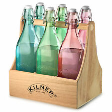 Kilner 7 Piece 1 Litre Swing Top Glass Bottles & Caddy Wine Crate Carrier Set