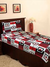 Homefab India Red-Black Cotton Single Bed-Sheet (Single180)