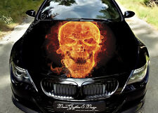 Flame Skull Full Color Graphics Adhesive Vinyl Sticker Fit any Car Hood #089